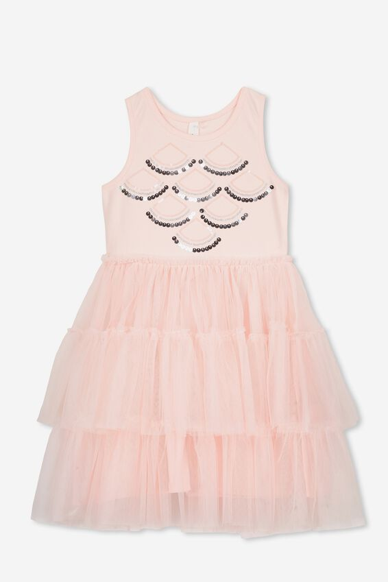 Iris Tulle Dress, PEARL PINK/SEQUIN SCALLOP