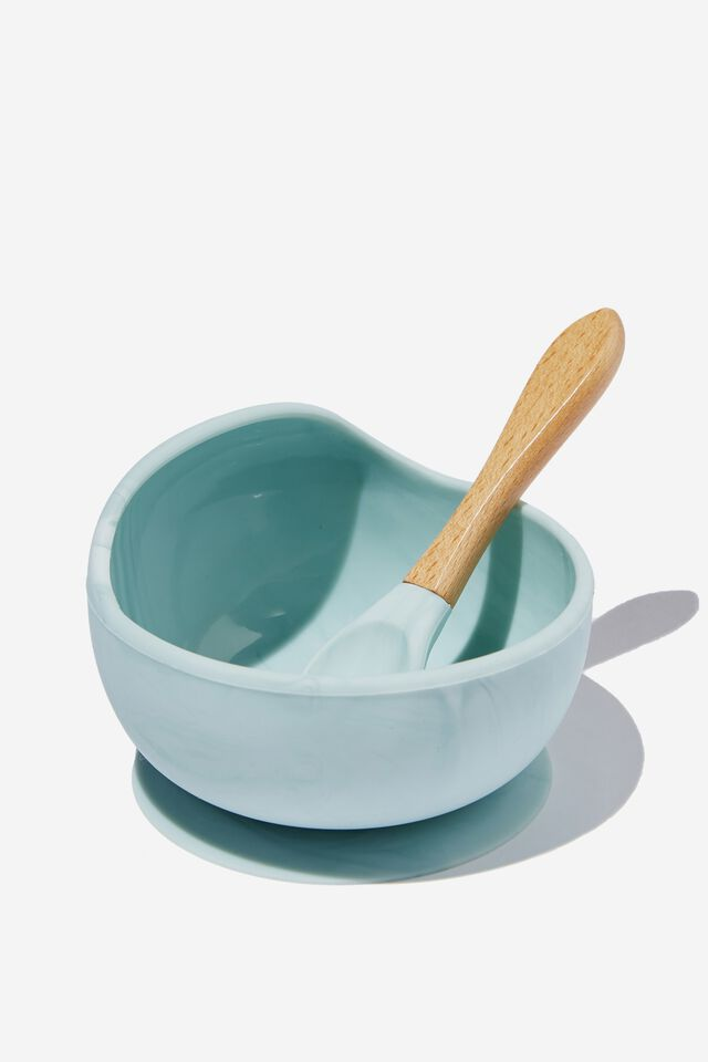 Silicone Bowl And Spoon, RUSTY AQUA MARBLE