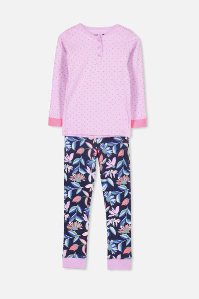 Alicia Long Sleeve Girls PJ Set, ABSTRACT FLORAL