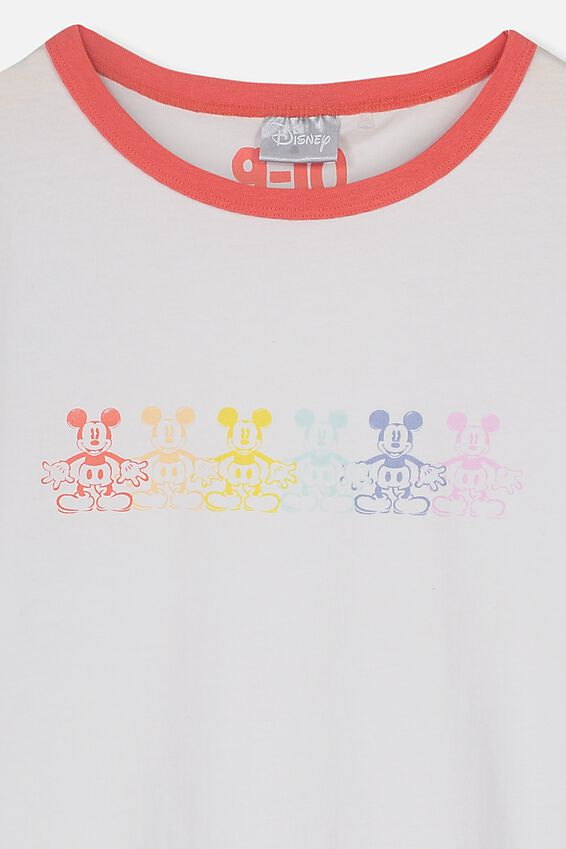 Lux Short Sleeve Tee, LCN DIS WHITE/MICKEY GRADIENT/RINGER