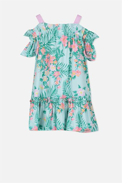 Kendall Cold Shoulder Dress, AQUA TINT/HAWAIIAN FLORAL