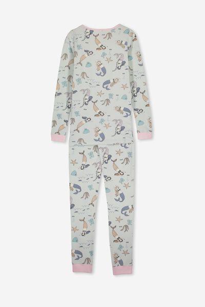 Lila Long Sleeve Pyjama Set, UNDERWATER MERMAIDS/MINTY BLUE