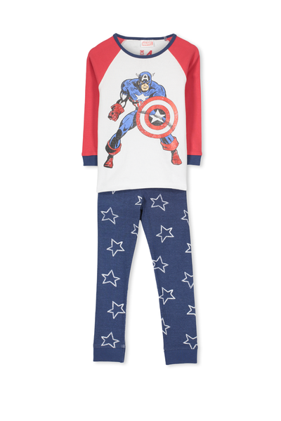 Jacob Boys Long Sleeve Raglan Pyjama Set, CAPTAIN AMERICA STARS