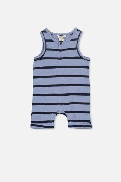 Matthew Short Leg All In One, PALE BLUE/DARK BLUE STRIPE