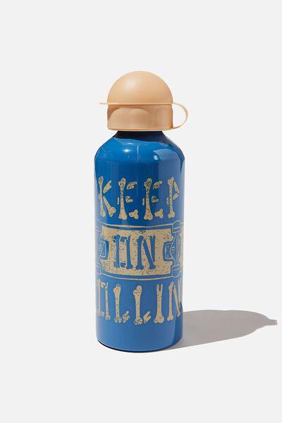 Aluminium Drink Bottle, KEEP ON ROLLING RETRO BLUE