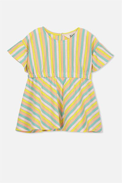 Molly Ruffle Dress, BUBBLEGUM PINK/PASTEL STRIPE