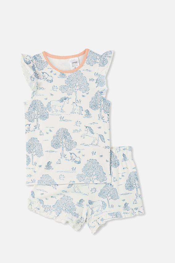 Stacey Short Sleeve Flutter Pyjama Set, UNICORN TOILE VANILLA