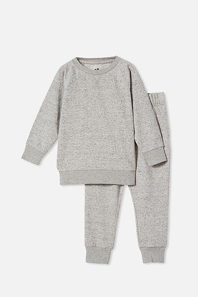 Zayne Long Sleeve Pyjama Set, SPACE DYE/GREY MARLE