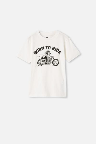 Max Skater Short Sleeve Tee, RETRO WHITE/ BORN TO RIDE