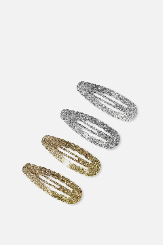 Hair Snaps, SILVER/GOLD GLITTER