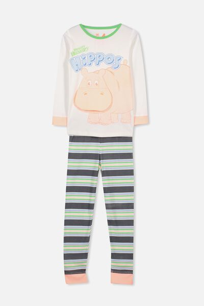 Charlie 2 Long Sleeve PJ Set, LCN HUNGRY HIPPOS