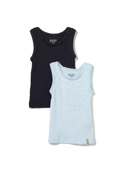 Baby Singlet, INDIAN INK/BABY BLUE MARLE