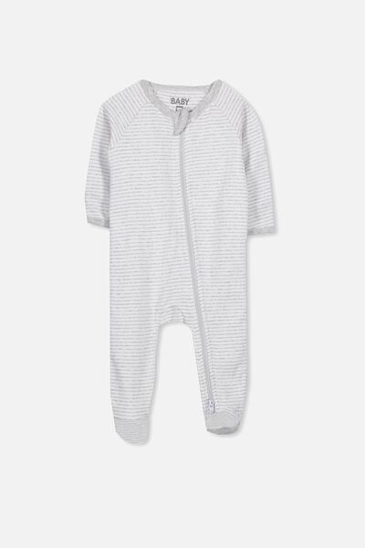 Newborn Long Sleeve Zip Through Romper, CLOUD MARLE STRIPE