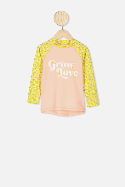 Hamilton Long Sleeve Rash Vest, SUNSHINE PAPERCUT DITSY/GROW AND LOVE
