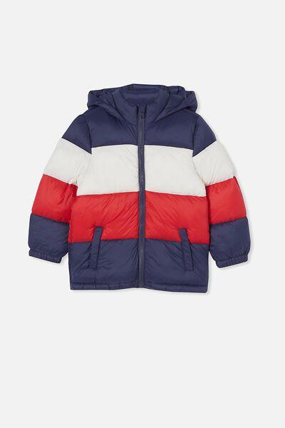 Frankie Puffer Jacket, INDIGO/VANILLA/LUCKY RED