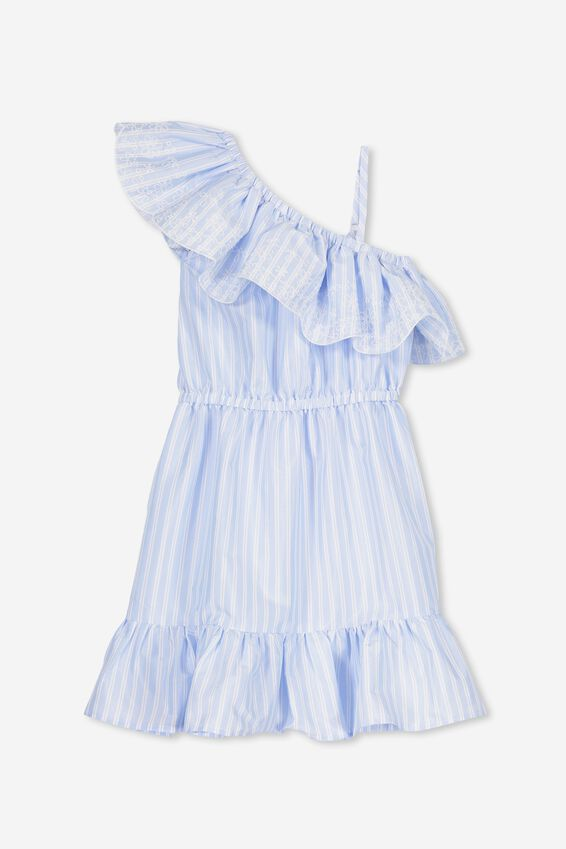Edith Frill Dress, BUTTERFLY BLUE STRIPE/EMB
