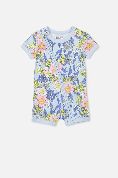 Mini Ss Zip Through Romper, YOLO BLUE/TROPICAL FLORAL