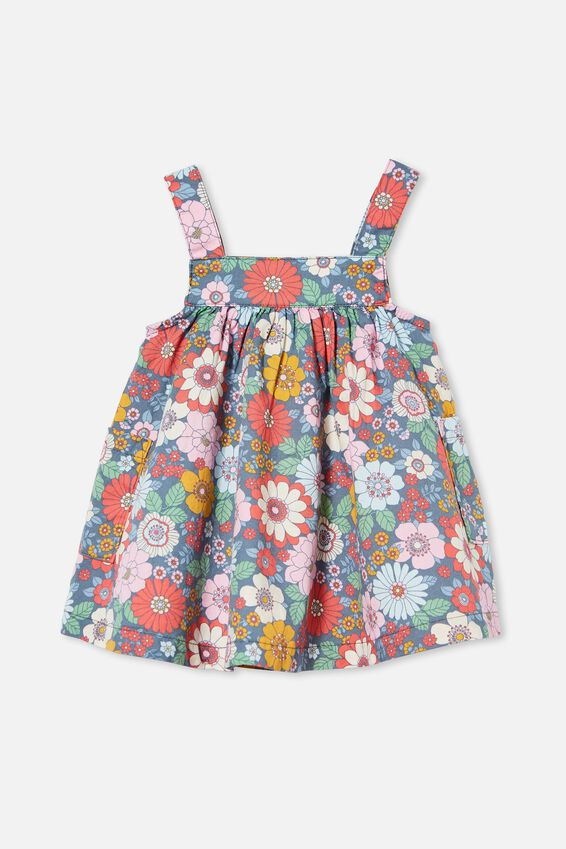 Penny Pinafore Dress, STEEL/CALI PINK RETRO FLORAL