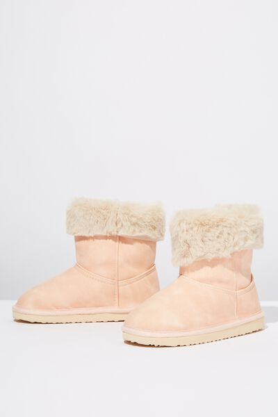 Faux Fur Foldover, PINK