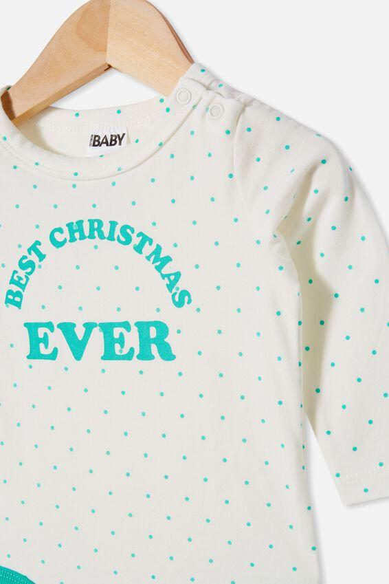 The Long Sleeve Bubbysuit, JOY SPOT VANILLA/APPLE CRISP BEST CHRISTMAS