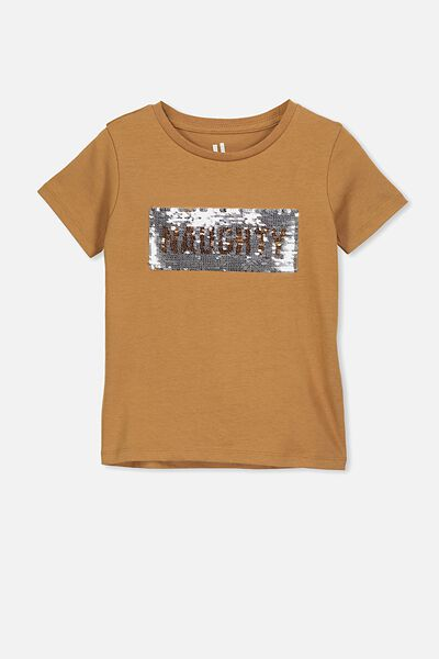 Stevie Ss Embellished Tee, GINGERBREAD/NAUGHTY NICE SEQUINS/MAX