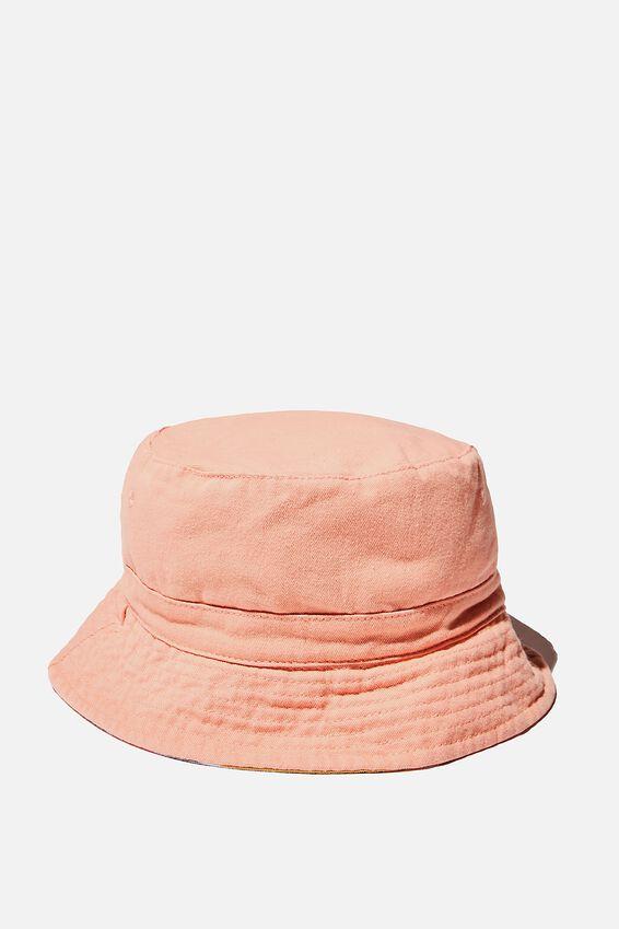 Reversible Bucket Hat, MUSK MELON STRIPE