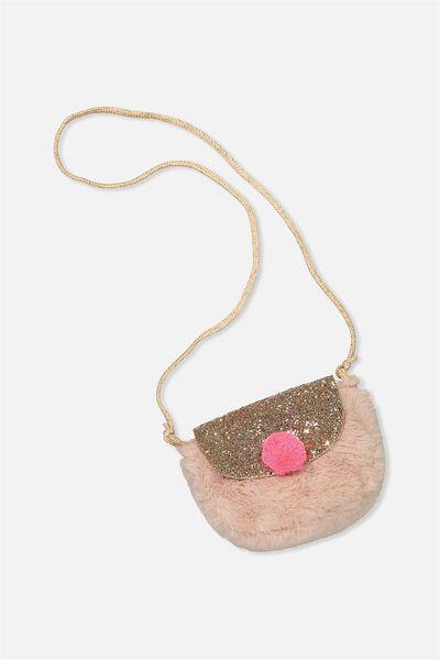 Faux Fur Crossbody Bag, POWDER PINK