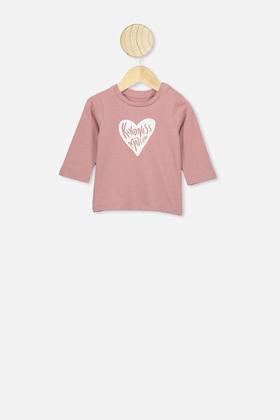 Jamie Long Sleeve Tee, DUSTY BERRY/KINDNESS MATTERS