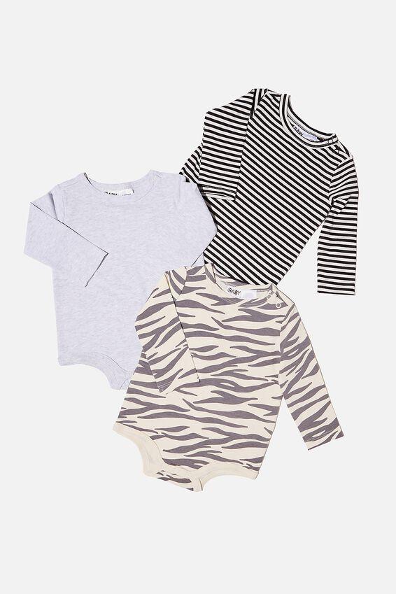 3 Pack Long Sleeve Bubbysuit, MARTY ZEBRA/CLOUD MARLE/BLACK STRIPE