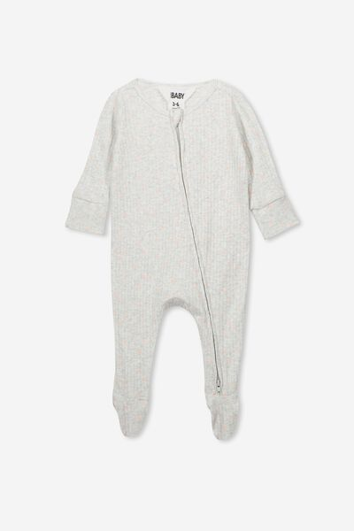 Newborn Zip Through Romper, KATE SPOT SOFT GREY MARLE/PEACH