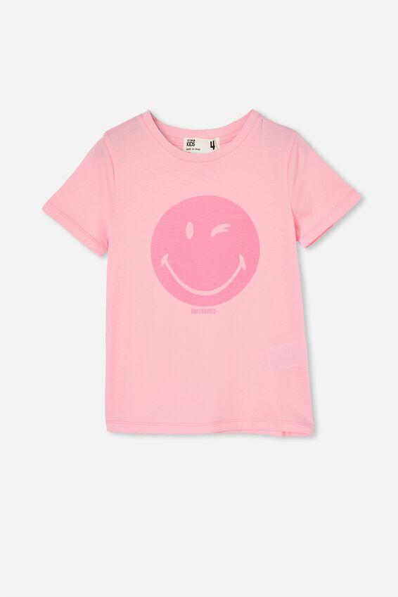 License Short Sleeve Tee, LCN SMI SMILEY WINK/CALI PINK