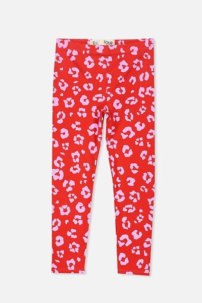 Huggie Tights, FLAME SCARLET/PINK GERBERA ANIMAL