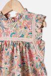 Tess Flutter Sleeve Dress, PEACH WHIP/GARDEN OF BIRDS