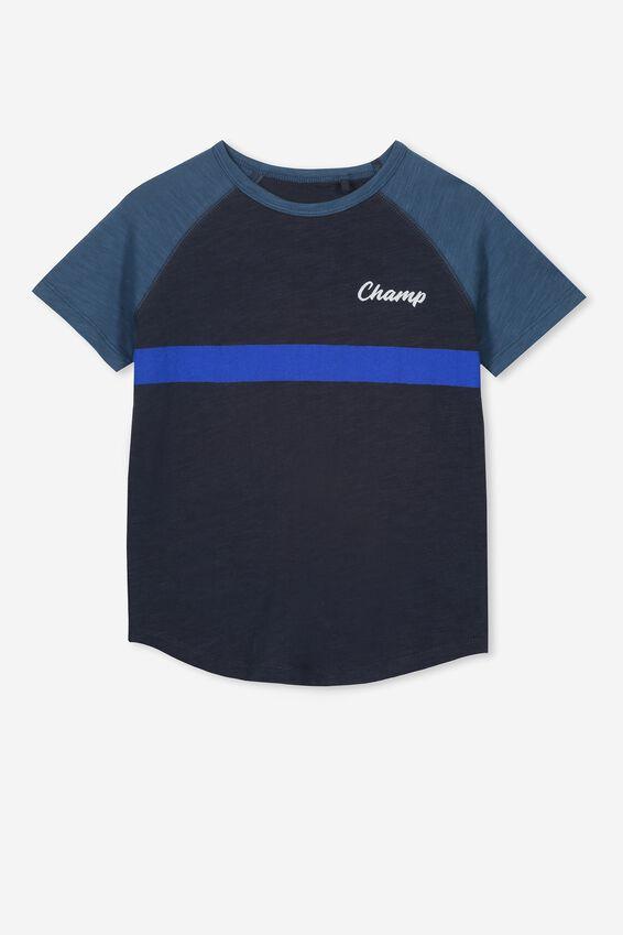 Rylie Short Sleeve Raglan Tee, NAVY/STEEL WASH BLUE/CHAMP