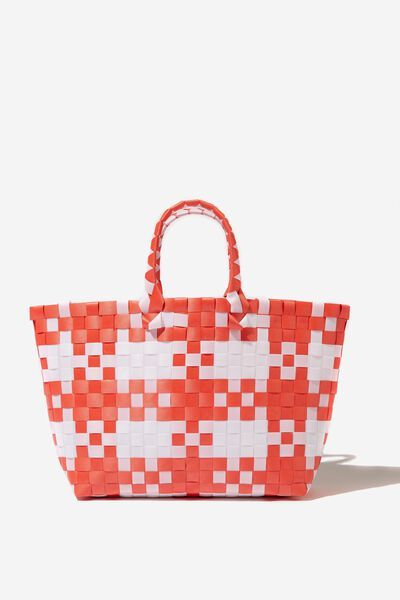 Woven Tote Bag, RED/WHITE CHECK