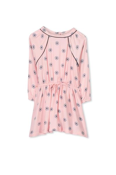 Marissa Long Sleeve Dress, SEA PINK/DAISY CHAIN