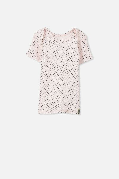 Mini Ss Rib Tee, SOFT PINK/GRAPHITE GREY SPOT