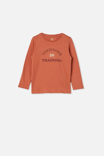 Penelope Long Sleeve Tee, DUST STORM/TEENAGER IN TRAINING