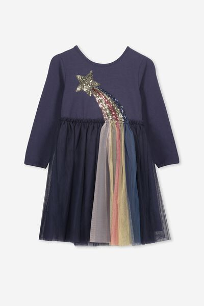 Iris Long Sleeve Tulle Dress, INK/SHOOTING STAR