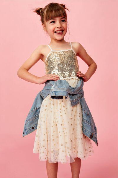Iris Tulle Dress, DARK VANILLA/GOLD SPARKLE STARS