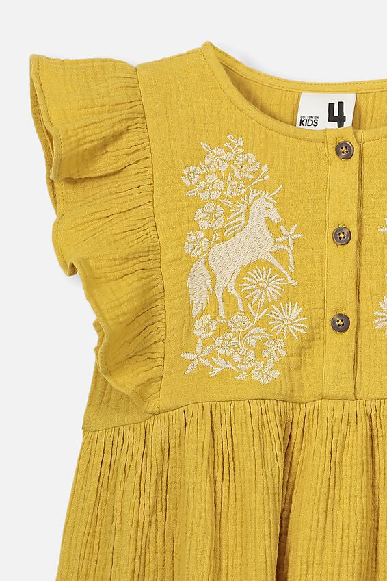 Goldie Sleeveless Dress, HONEY GOLD/UNICORN EMB