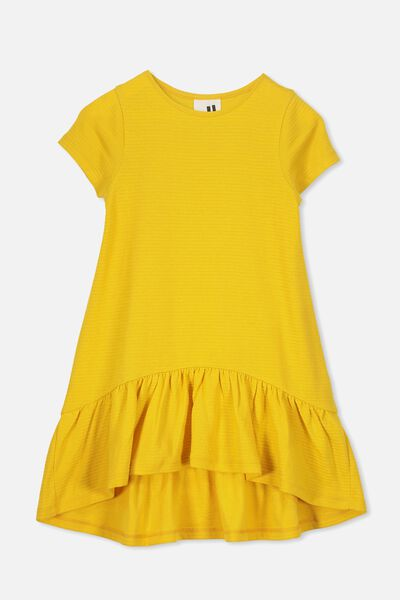 Joss Short Sleeve Dress, GOLDEN ROD/TEXTURE
