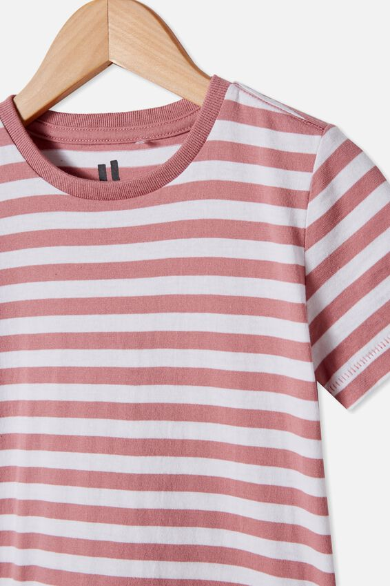 Core Short Sleeve Tee, DUSTY BERRY WHITE STRIPE
