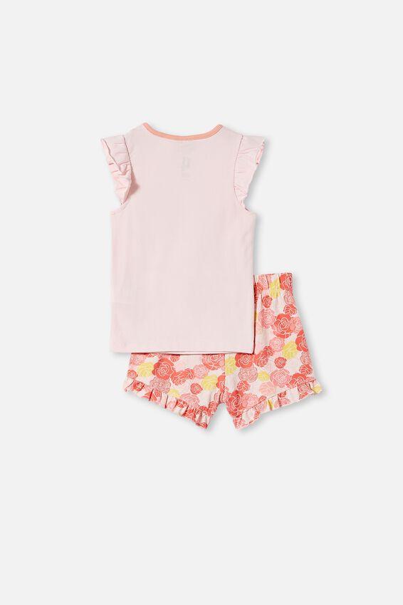 Stacey Short Sleeve Flutter Pyjama Set, LCN DIS BELLE PINK QUARTZ