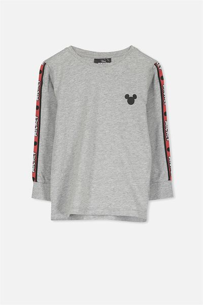 License Long Sleeve Tee, LT GREY MARLE/MICKEY TAPE