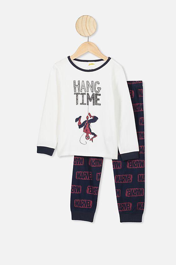 Spiderman Noah Long Sleeve PJ Set, LCN MAR DARK VANILLA SPIDERMAN HANG TIME