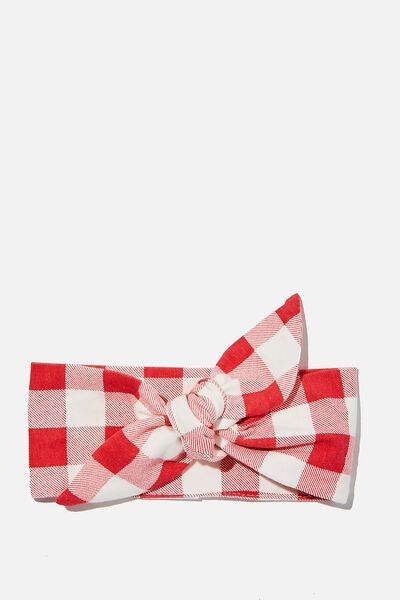The Tie Headband, LUCKY RED/CHRISTMAS GINGHAM