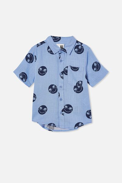 Resort Short Sleeve Shirt, SMILE/DUSK BLUE