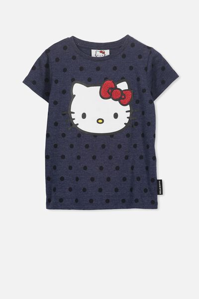 Lux Short Sleeve Tee, PEACOAT MARLE SPOT/HELLO KITTY/SET IN