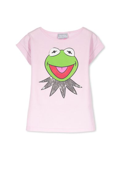 Girls Kermit The Frog Short Sleeve Tee, SEQUIN KERMIT/PINK TINT